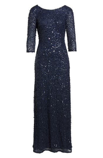 Adrianna Papell Sequin Mesh Gown, Blue