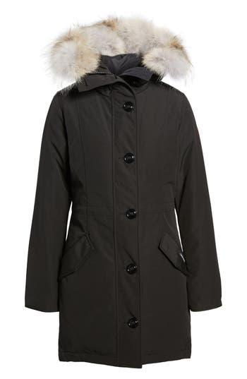Canada Goose Rossclair Genuine Coyote Fur Trim Down Parka, (0) - Black