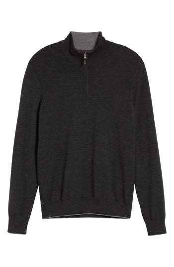 Thomas Dean Merino Wool Blend Quarter Zip Sweater, Grey