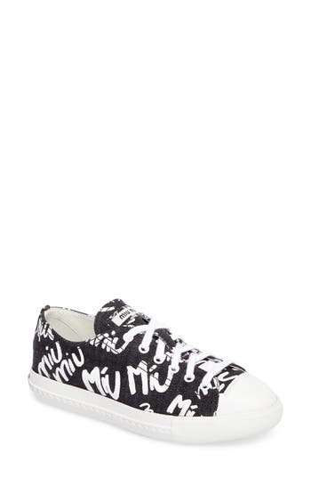 Miu Miu Logo Low Top Sneaker, Black