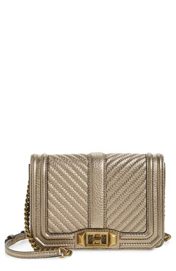 Rebecca Minkoff Small Love Metallic Leather Crossbody Bag - Metallic