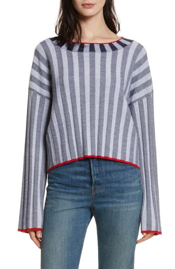 Elizabeth And James Campbell Stripe Merino Wool Blend Sweater, Blue