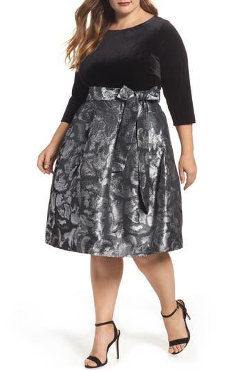 Plus Size Eliza J Velvet Shimmer Fit & Flare Dress, Black