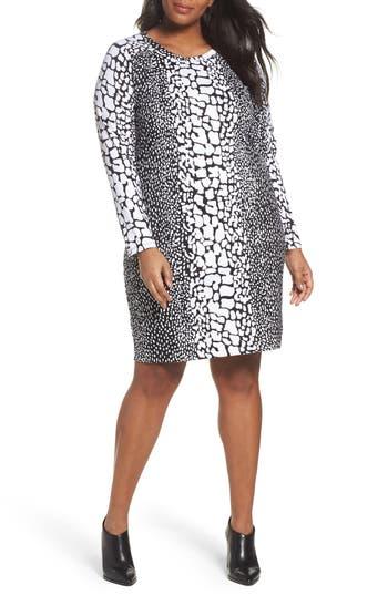 Plus Size Michael Michael Kors Croc Print Ponte Dress, Black