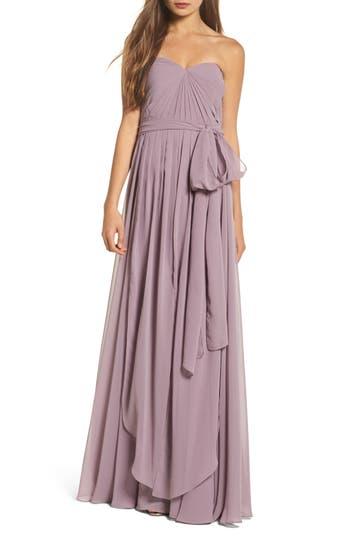 Jenny Yoo Mira Convertible Strapless Chiffon Gown, Purple