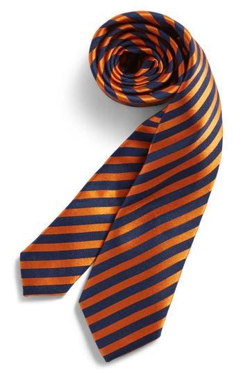 Boy's Nordstrom Stripe Silk Tie, Size Big Boy Big Boy - Orange