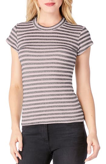 Michael Stars Stripe Crewneck Top, Size One Size - Pink