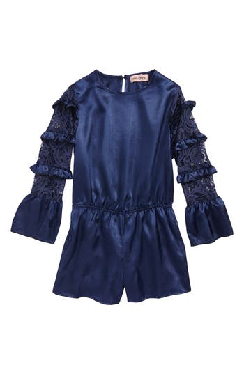 Girls Mia Chica Lace Sleeve Satin Romper