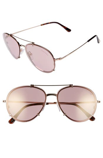 Tom Ford Dickon 5m Aviator Sunglasses - Shiny Rose Gold/ Gradient