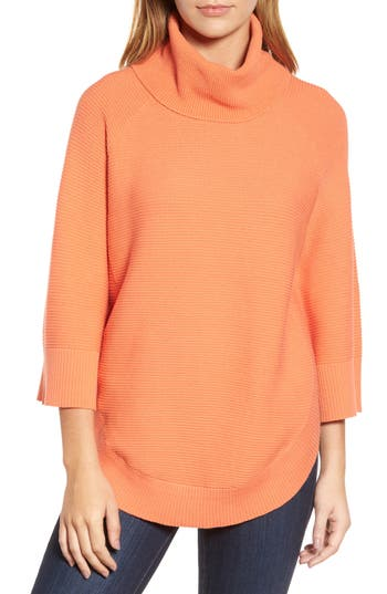 Women's Chaus Cowl Neck Shirttail Hem Sweater, Size Small - Coral