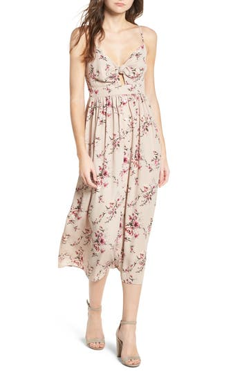 Soprano Tie Front Midi Dress, Pink