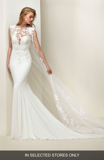 Women's Pronovias Drail Tulle & Crepe Mermaid Gown, Size IN STORE ONLY - Ivory