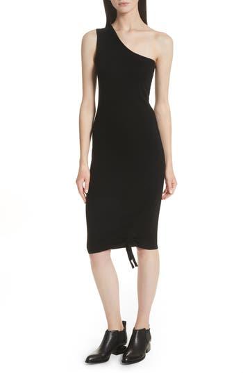 T By Alexander Wang Ruched Merino Wool One-Shoulder Dress, Black