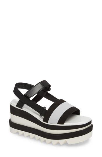 Women's Stella Mccartney Stripe Platform Sandal, Size 5US / 35EU - Black