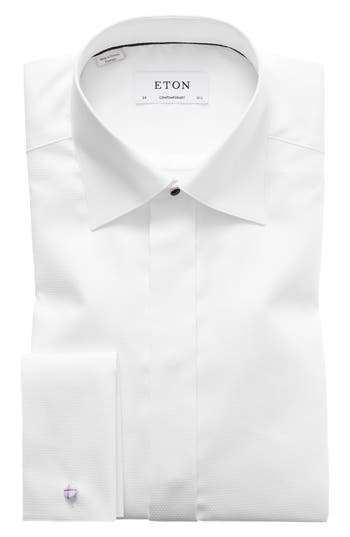Eton Contemporary Fit Diamond Weave Tuxedo Shirt