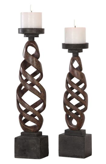 Uttermost Abrose Set Of 2 Candleholders, Size One Size - Brown