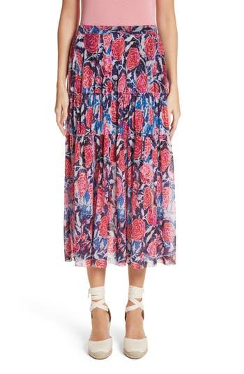 Fuzzi Floral Print Midi Skirt, Red