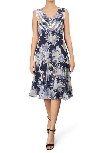 Komarov Floral Chiffon A-Line Dress, Blue
