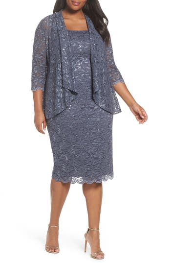 Plus Size Women's Alex Evenings Sequin Lace Jacket Dress, Size 14W - Blue
