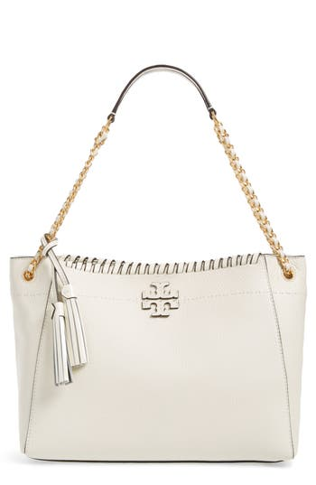 Tory Burch Mcgraw Leather Shoulder Bag - White