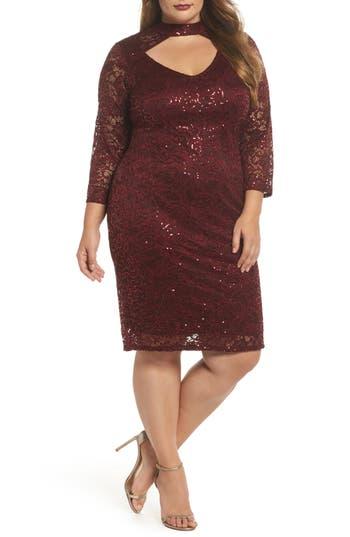 Plus Size Marina Choker Neck Lace Sheath Dress, Burgundy