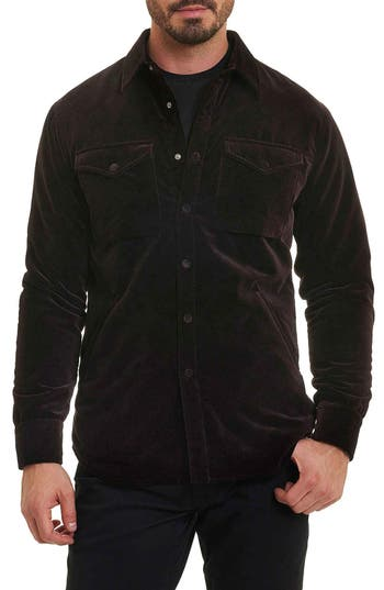 Men's Robert Graham Carnaby Slim Fit Shirt Jacket, Size Medium - Purple