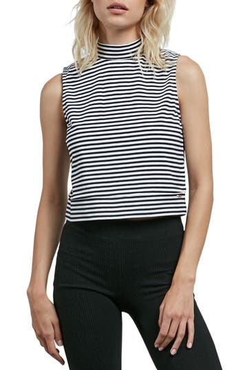 Volcom Lil Tank Stripe Top, White