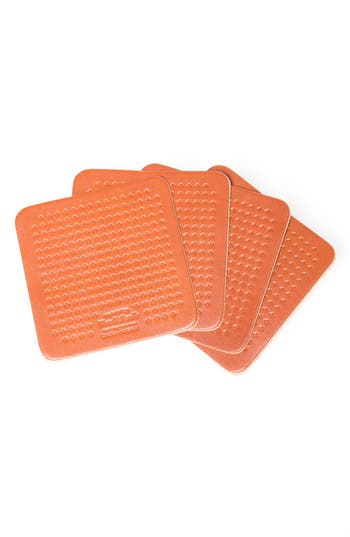 Wood & faulk Cross Pattern Leather Coaster Set, Size One Size - Brown