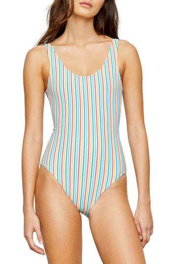 Onia Stripe Low Back One-Piece Swimsuit, Yellow