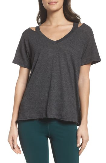 Zella Tony Cutout Tee, Grey