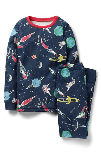 Toddler Girls Mini Boden Space Glow In The Dark Fitted TwoPiece Pajamas
