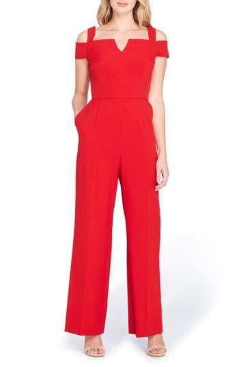 Tahari Cold Shoulder Jumpsuit, Red