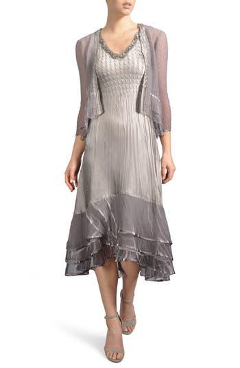 Komarov Embellished Tiered Hem Dress With Jacket, Grey
