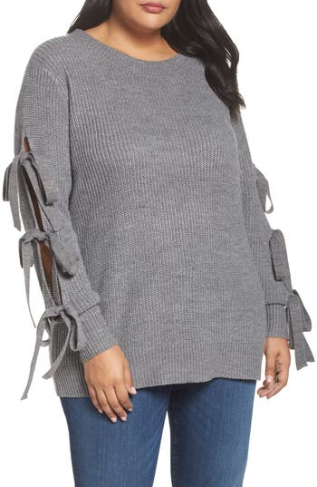 Plus Size Women's Soprano Bow Sleeve Sweater, Size 1X - Grey