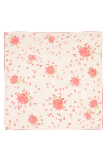 Women's Valentino Garavani Rose Re-Edition Square Silk Scarf, Size One Size - Pink