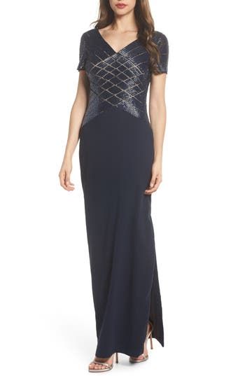 Adrianna Papell Beaded Crosshatch Gown, Blue
