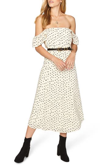 Amuse Society Sweeter Than You Off The Shoulder Midi Dress, White