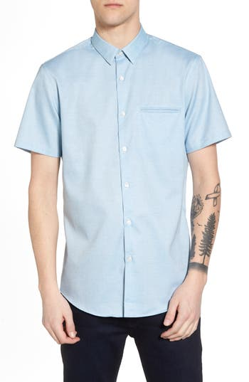 Calibrate Trim Fit Jaspe Short Sleeve Sport Shirt, Blue/green