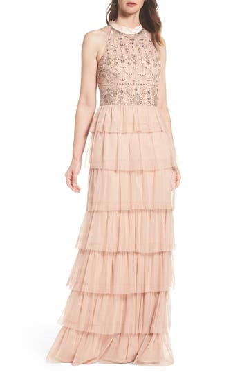 Adrianna Papell Embellished Tiered Maxi Dress, Pink
