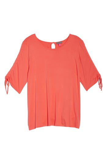 Plus Size Women's Vince Camuto Drawstring Sleeve Top, Size 1X - Pink