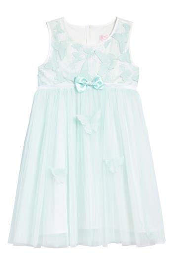 Girl's Popatu Butterfly Applique Tulle Dress, Size 4 - Green