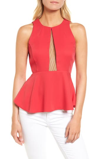 Women's Trouve Date Peplum Top, Size XX-Small - Red