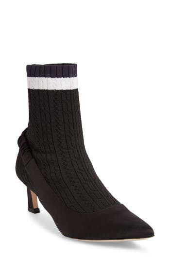 Stuart Weitzman Sockette Tipped Stretch Knit Bootie, Black