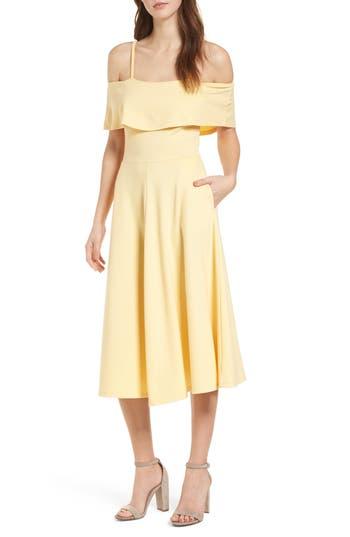Leith Cold Shoulder Midi Dress, Yellow