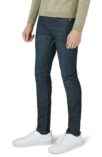 Topman Coated Denim Skinny Jeans