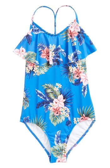 Girl's Seafolly Retro Tropic Ruffle One-Piece Swimsuit, Size 8 - Blue