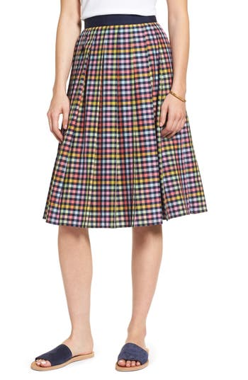 1901 Pleated Check Skirt, Blue