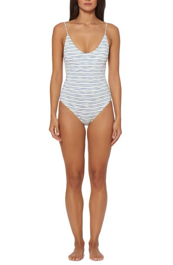 Dolce Vita Lace-Up One-Piece Swimsuit, White