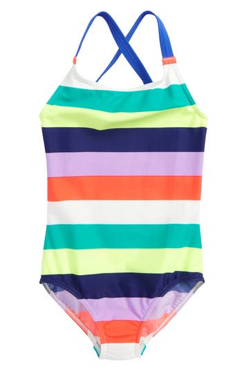 Girl's Mini Boden One-Piece Swimsuit, Size 6-7Y - Blue