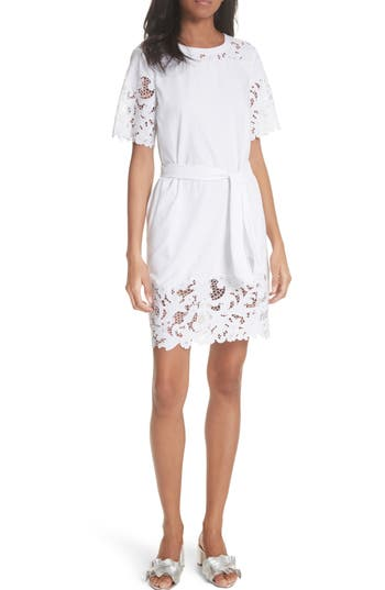 La Vie Rebecca Taylor Embroidered Jersey Dress, White